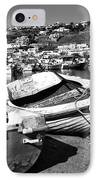 Boats In The Mykonos Old Port Mono IPhone Case by John Rizzuto