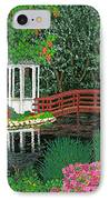 Botanical Garden Park Walk Pink Azaleas Bridge Gazebo Flowering Trees Pond IPhone Case