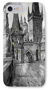 Bw Prague Charles Bridge 02 IPhone Case by Yuriy  Shevchuk