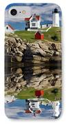 Cape Neddick Reflection - D003756a IPhone Case by Daniel Dempster