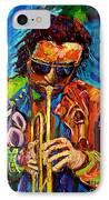 Carole Spandau Paints Miles Davis And Other Hot Jazz Portraits For You IPhone Case by Carole Spandau