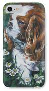 Cavalier King Charles Spaniel With Butterfly IPhone Case by Lee Ann Shepard