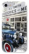 Classic Chevrolet Automobile Parked Outside The Store IPhone Case
