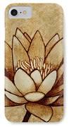 Coffee Painting Water Lilly Blooming IPhone Case by Georgeta  Blanaru