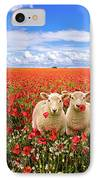 Corn Poppies And Twin Lambs IPhone Case