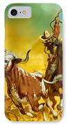 Cowboy Lassoing Cattle  IPhone Case by Angus McBride