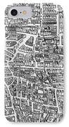 Detail From A Map Of Paris In The Reign Of Henri II Showing The Quartier Des Ecoles IPhone Case