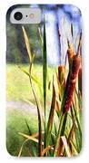 Dragon Fly And Cattails In Watercolor IPhone Case by Gary Adkins