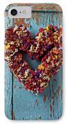 Dry Flower Wreath On Blue Door IPhone Case by Garry Gay