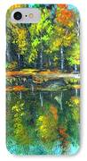 Fall Landscape Acrylic Painting Framed IPhone Case