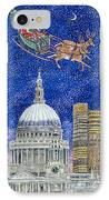 Father Christmas Flying Over London IPhone Case