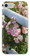 Fence With Pink Roses IPhone Case by Elena Elisseeva