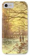 Figures On A Path Before A Village In Winter IPhone Case by Johannes Hermann Barend Koekkoek