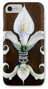Flower Of New Orleans White Calla Lilly IPhone Case by Judy Merrell