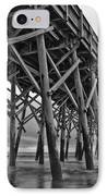 Folly Beach Pier Black And White IPhone Case