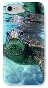 friendly Hawaiian sea turtle  IPhone Case by Sean Davey