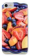 Fruit Salad In Blue Bowl IPhone Case by Carol Groenen