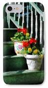 Geraniums And Pansies On Steps IPhone Case by Susan Savad