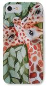 Giraffe Trio By Christine Lites IPhone Case by Allen Sheffield