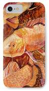 Golden Koi IPhone Case by Pat Saunders-White