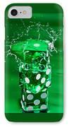Green Dice Splash IPhone Case by Steve Gadomski