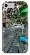 Green Umbrella Bus Stop IPhone Case by Michael Thomas