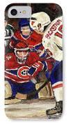 Halak Blocks Backstrom In Stanley Cup Playoffs 2010 IPhone Case by Carole Spandau