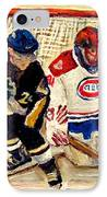 Halak Catches The Puck Stanley Cup Playoffs 2010 IPhone Case by Carole Spandau