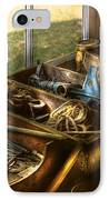 Handyman - Junk On A Bench IPhone Case by Mike Savad