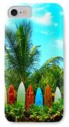 Hawaii Surfboard Fence Photograph  IPhone Case by Michael Ledray