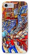 Hockey Game Near The Red Staircase IPhone Case