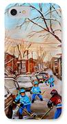 Hockey Gameon Jeanne Mance Street Montreal IPhone Case by Carole Spandau