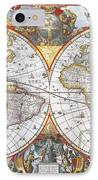 Hondius World Map, 1630 IPhone Case by Photo Researchers