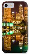 Indianapolis Skyline At Night Canal Reflection Picture IPhone Case by Paul Velgos