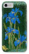 Irises Blue Flowers Lucky Love Frog Friends Fine Art Print Giclee High Quality Exceptional Colors  IPhone Case