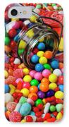 Jar Spilling Bubblegum With Candy IPhone Case by Garry Gay