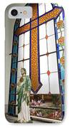 Jesus In The Church Window And School Girls In The Background IPhone Case
