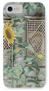 Jesus Looking Through A Lattice With Sunflowers IPhone Case