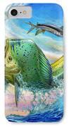Jumping Mahi Mahi And Flyingfish IPhone Case by Terry Fox