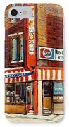 La Quebecoise Restaurant Deli IPhone Case by Carole Spandau