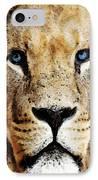 Lion Art - Blue Eyed King IPhone Case by Sharon Cummings