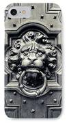 Lion Head Door Knocker IPhone Case by Adam Romanowicz