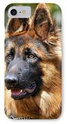Long Coated German Shepherd Dog IPhone Case by Sandy Keeton