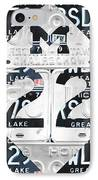 M22 Michigan Highway Symbol Recycled Vintage Great Lakes State License Plate Logo Art IPhone Case by Design Turnpike