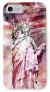 Modern-art Statue Of Liberty - Red IPhone Case