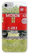 Monon Wood Caboose Train C 283 1950s IPhone Case