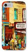 Montreal Streetscene Artist Carole Spandau Paints Schwartzs Main Street Hustle Bustle IPhone Case