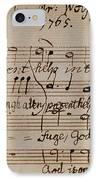 Mozart: Motet Manuscript IPhone Case by Granger