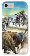 Native American Indians Killing American Bison IPhone Case