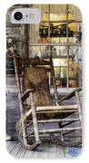 Old Wooden Rocking Chair On A Wooden Porch IPhone Case by Jeremy Woodhouse
